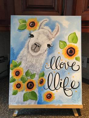 Llama LLove LLife Sunflower Canvas Painting