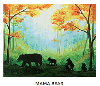 Mama Bear Fall Canvas Painting