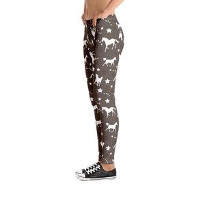Western Horse Pattern Brown Leggings - Women's Size