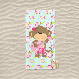 Hula Girl Monkey Hibiscus Flowers Pink Guitar Beach Towel