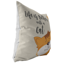 Load image into Gallery viewer, Life is Better with an Orange Cat Throw Pillow