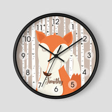 Load image into Gallery viewer, Woodland Fox Birch Tree Personalized Nursery Wall Clock