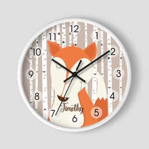 Woodland Fox Birch Tree Personalized Nursery Wall Clock