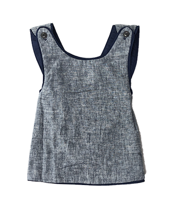 Criss Cross Reversible Top Indigo Dobby
