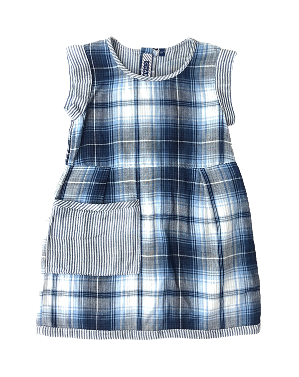 Fielder Sleeveless Dress Indigo Plaid