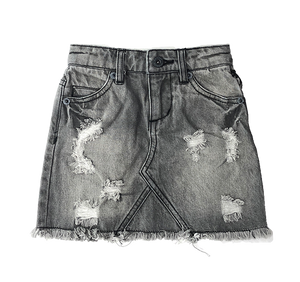 Denim Rocker Grey Skirt Ripped