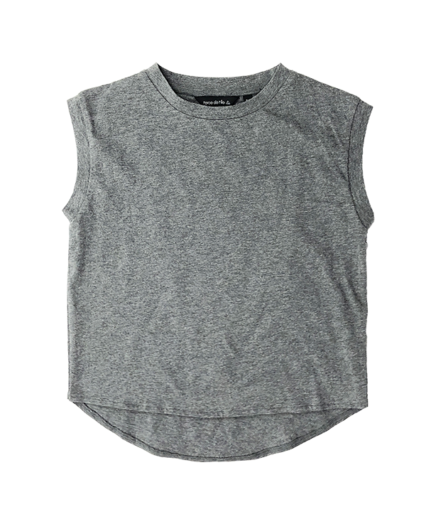 Split Back Top Heather Grey