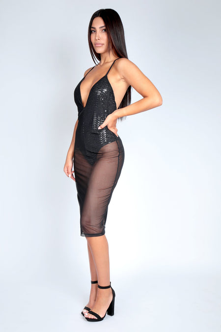 SHEER DELIGHT DRESS | BLACK