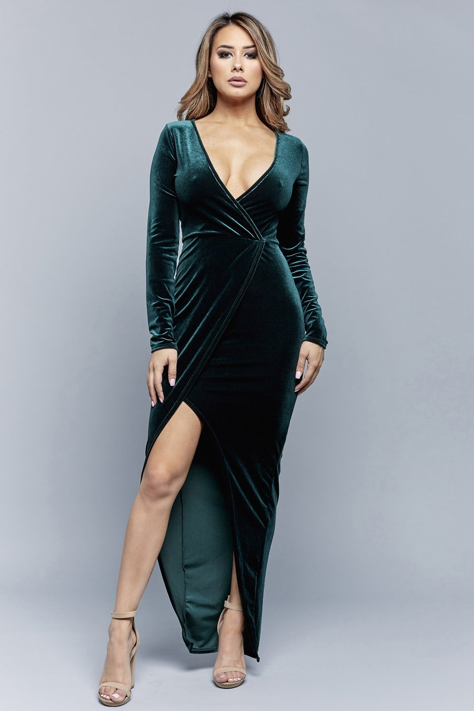 WRAPPED IN LUXE DRESS | HUNTER GREEN