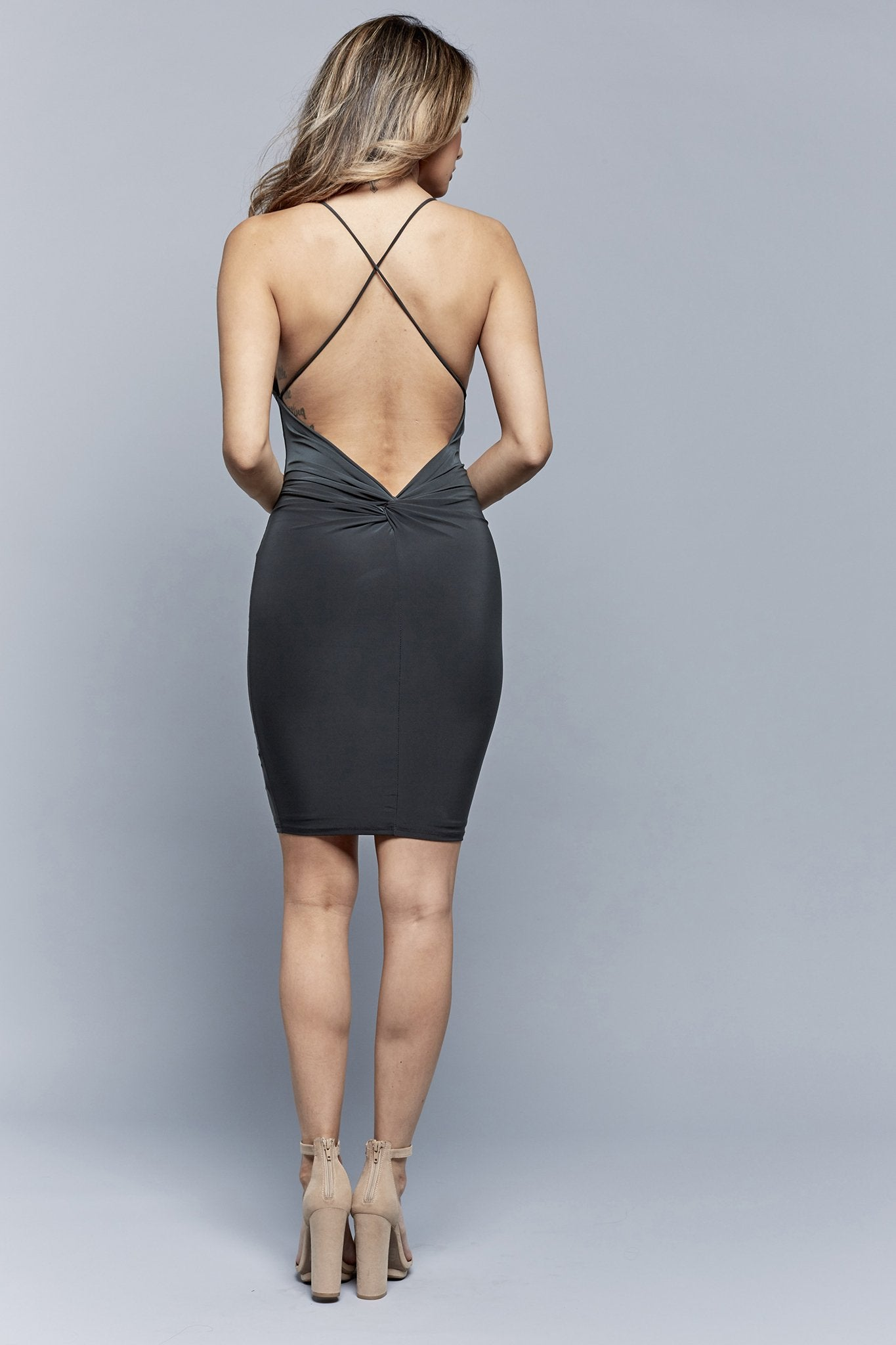 KNOT-TIE BACK DRESS | HUNTER GREEN
