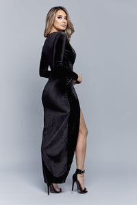 WRAPPED IN LUXE DRESS | BLACK