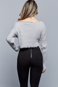 KIMI CROPPED SWEATER | HEATHER GREY