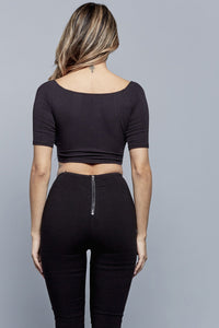 GIANNA CROPPED TOP | BLACK