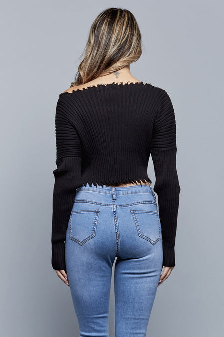 KIMI CROPPED SWEATER | BLACK