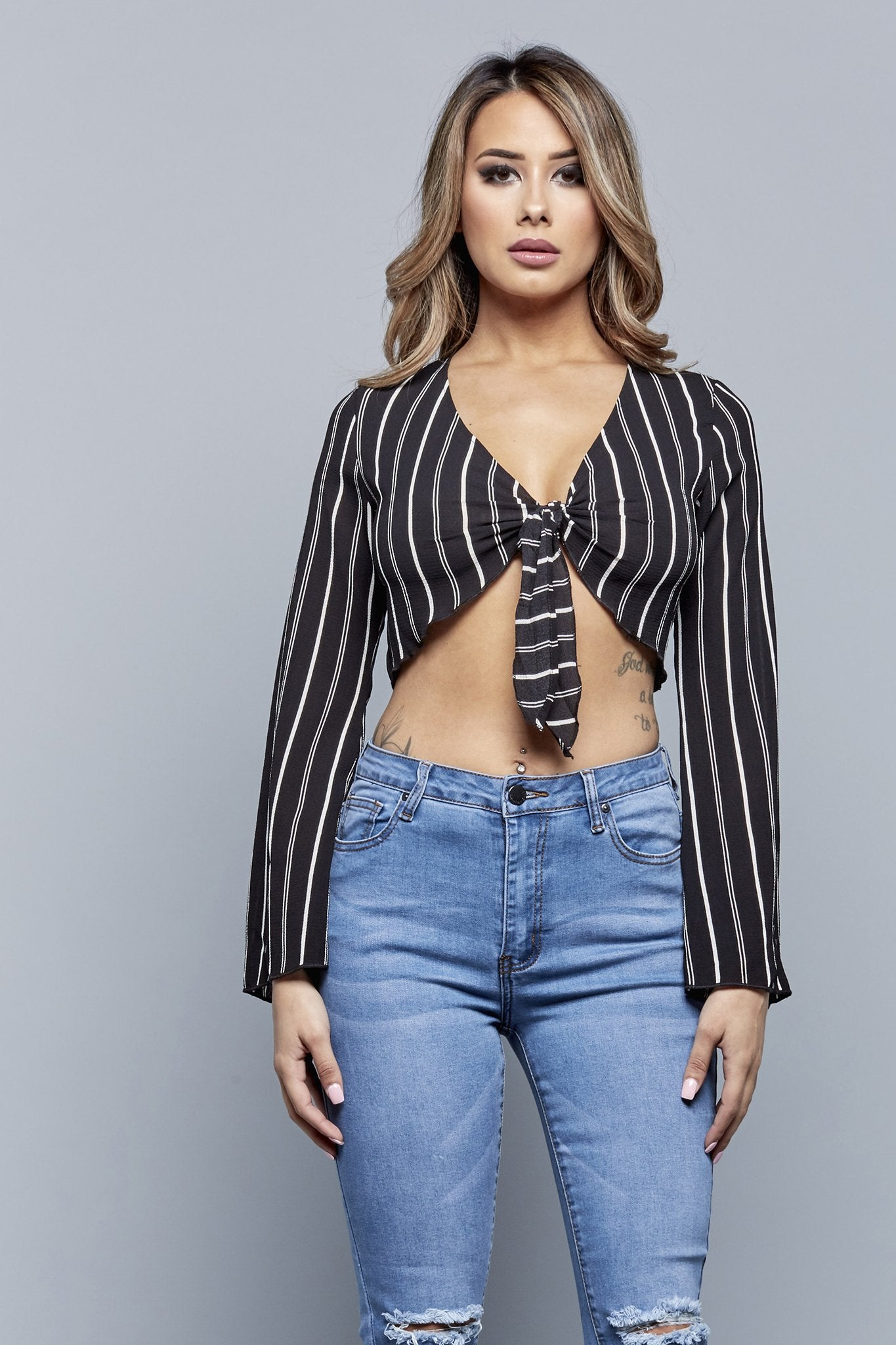 STRIPED TIE FRONT TOP | BLACK
