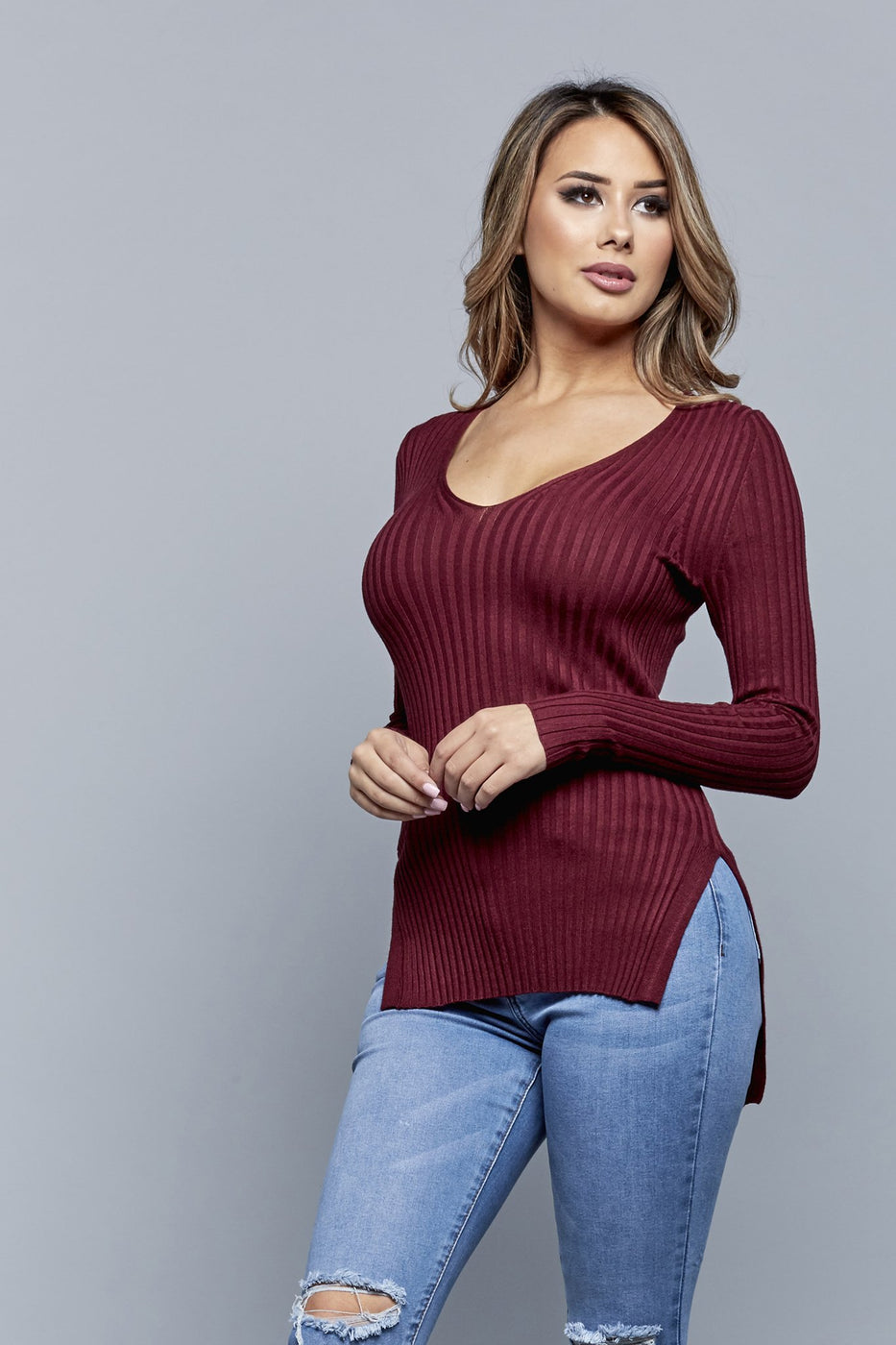 SWEATER WEATHER TOP | BURGUNDY