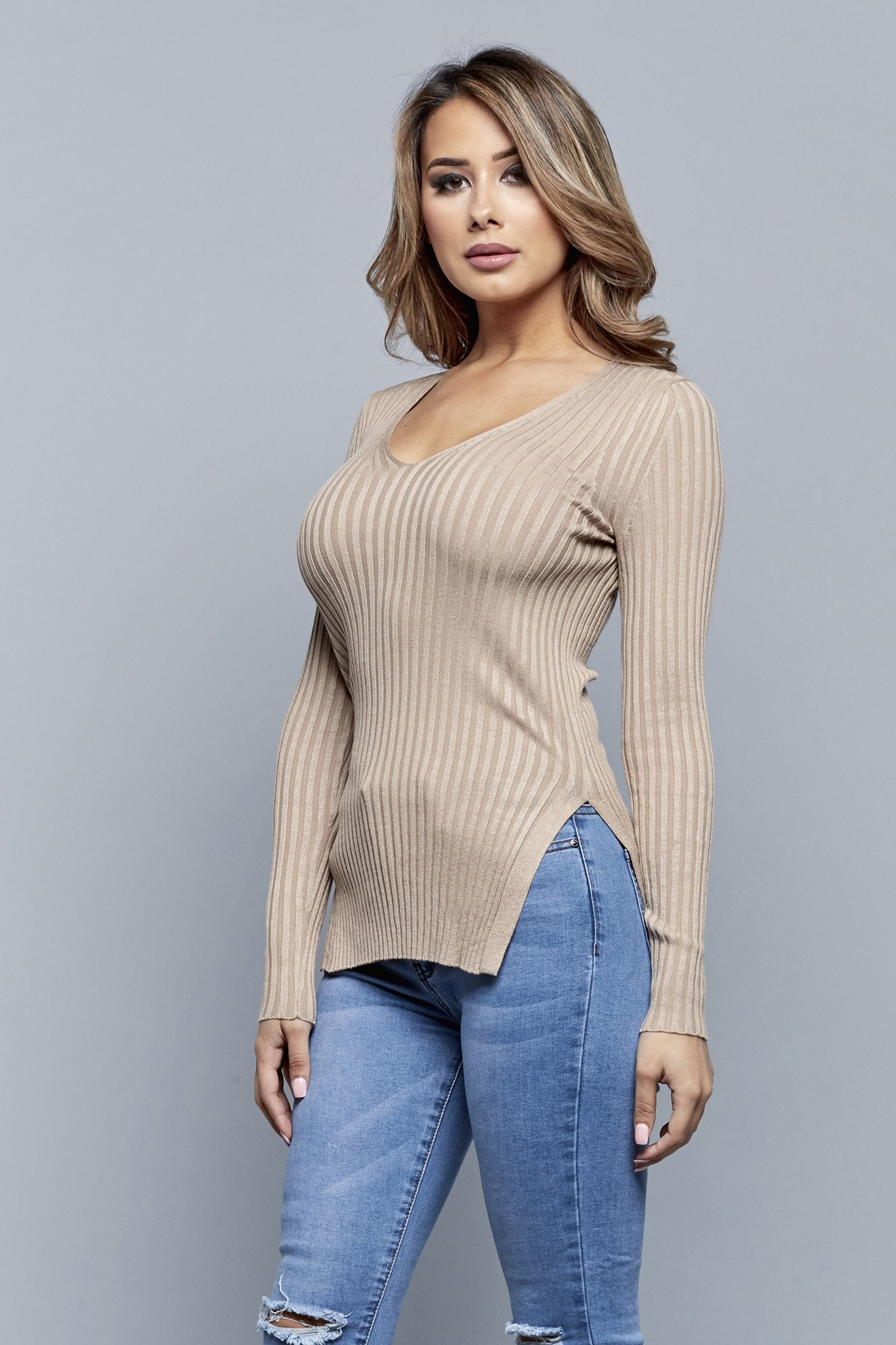 SWEATER WEATHER TOP | TAUPE
