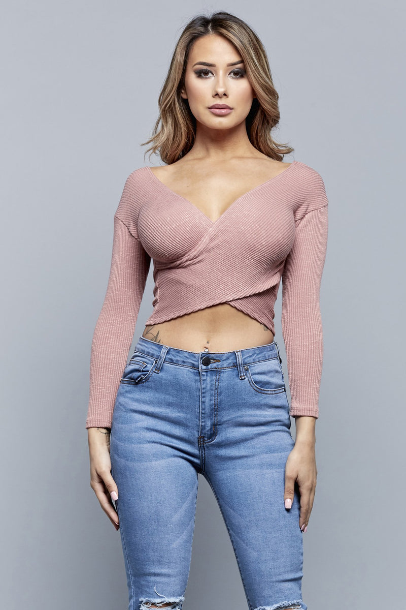 CROSS MY HEART TOP | MAUVE
