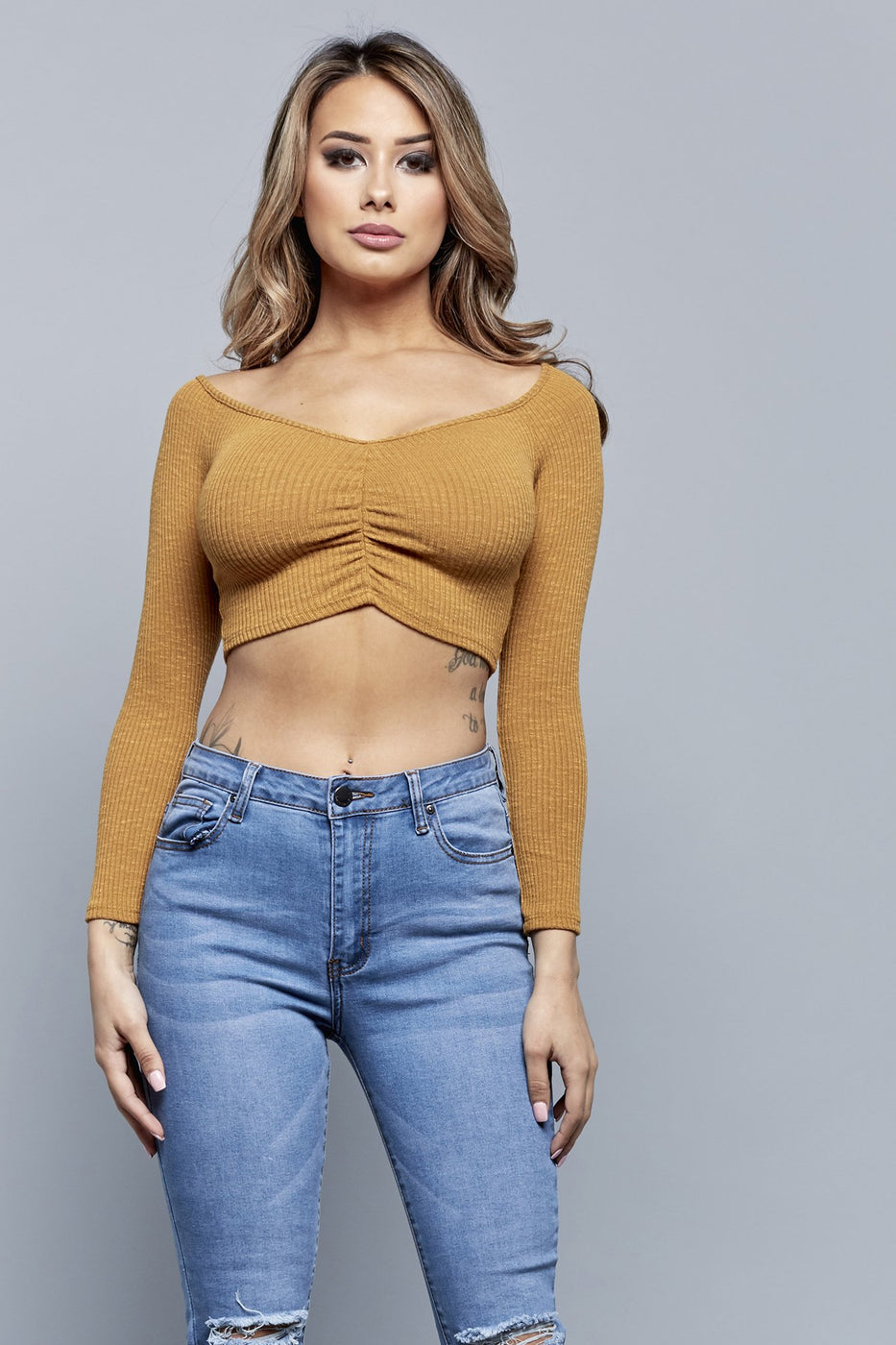 CENTER OF ATTENTION TOP | MUSTARD