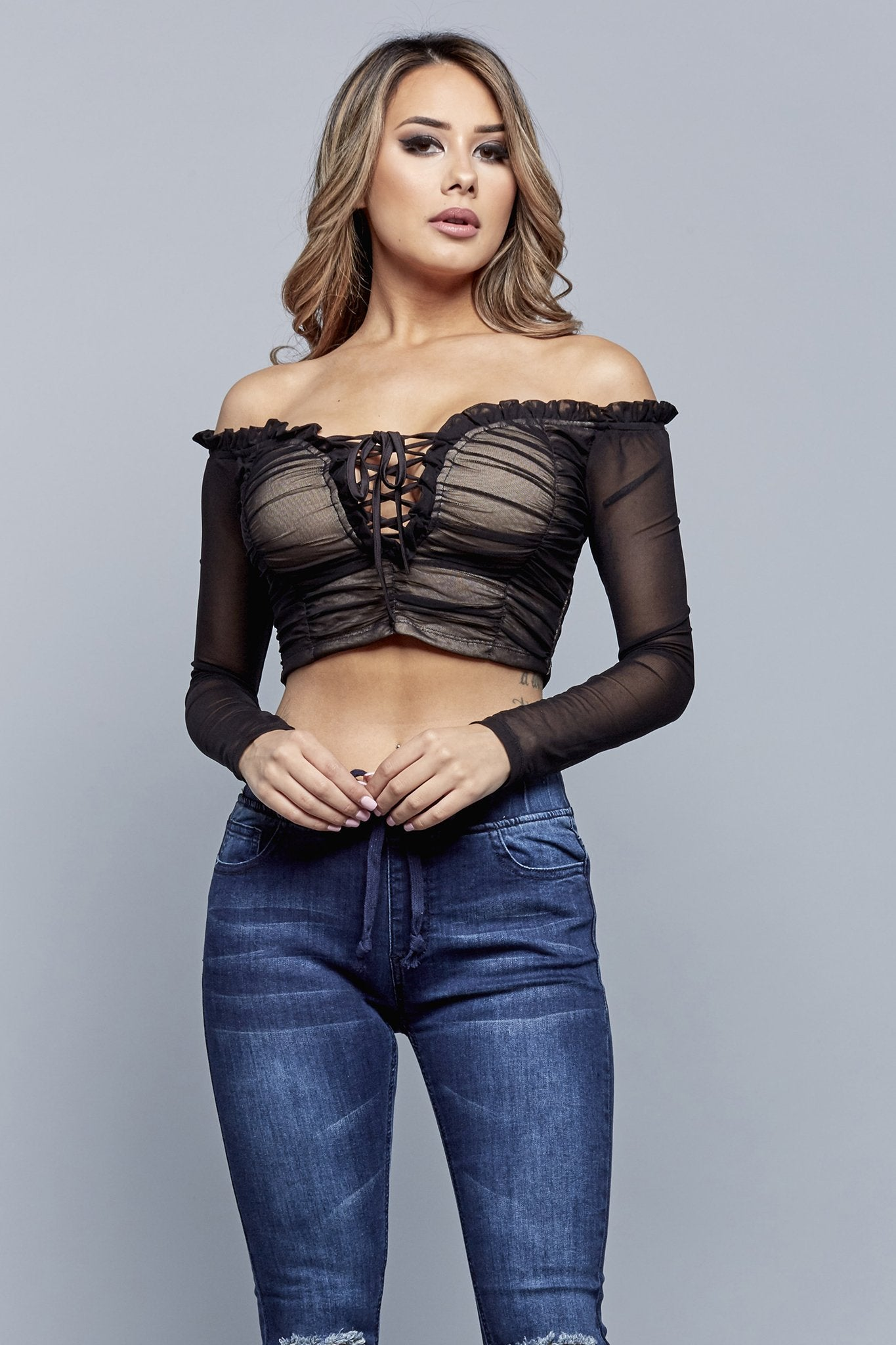 VICTORIA CROPPED TOP | BLACK