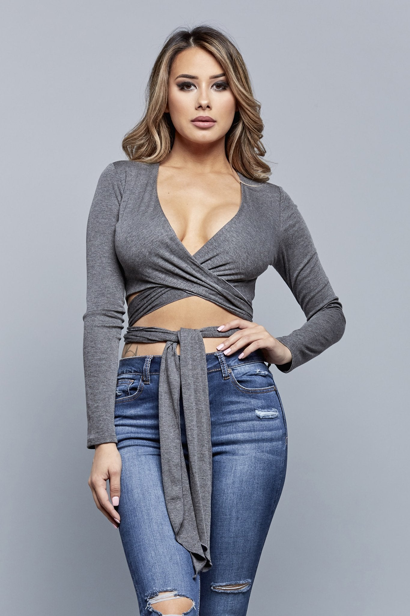 THAT'S A WRAP TOP | CHARCOAL
