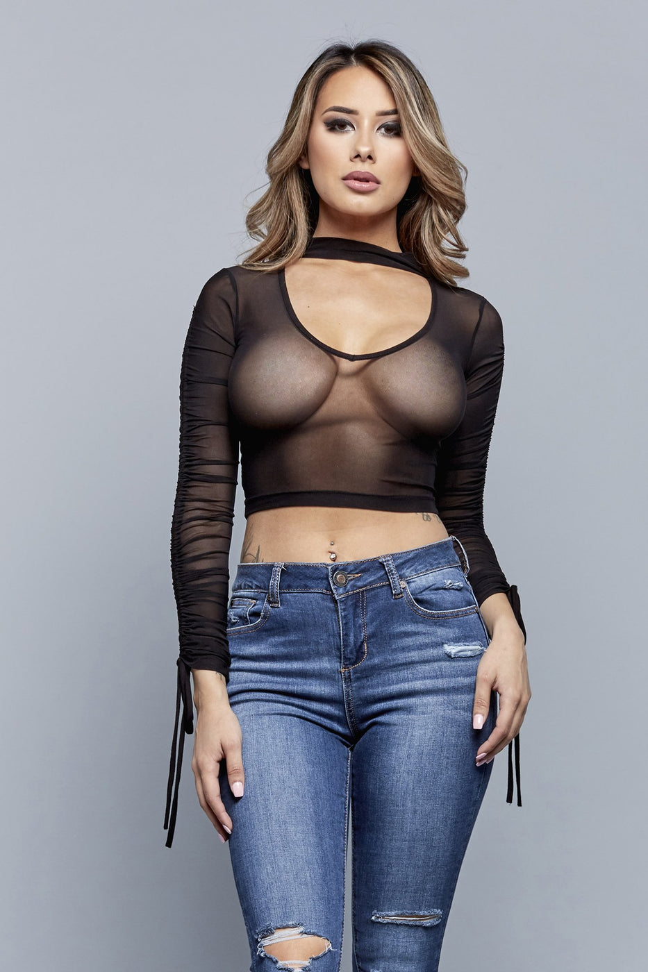SHEER ENVY TOP | BLACK