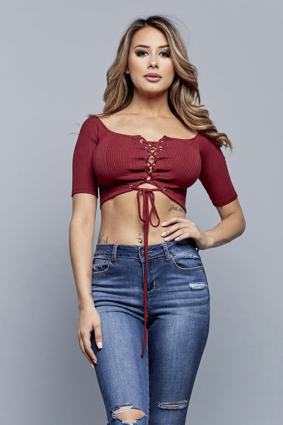 GIANNA CROPPED TOP | BURGUNDY