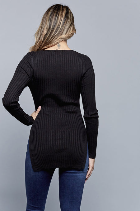 SWEATER WEATHER TOP | BLACK