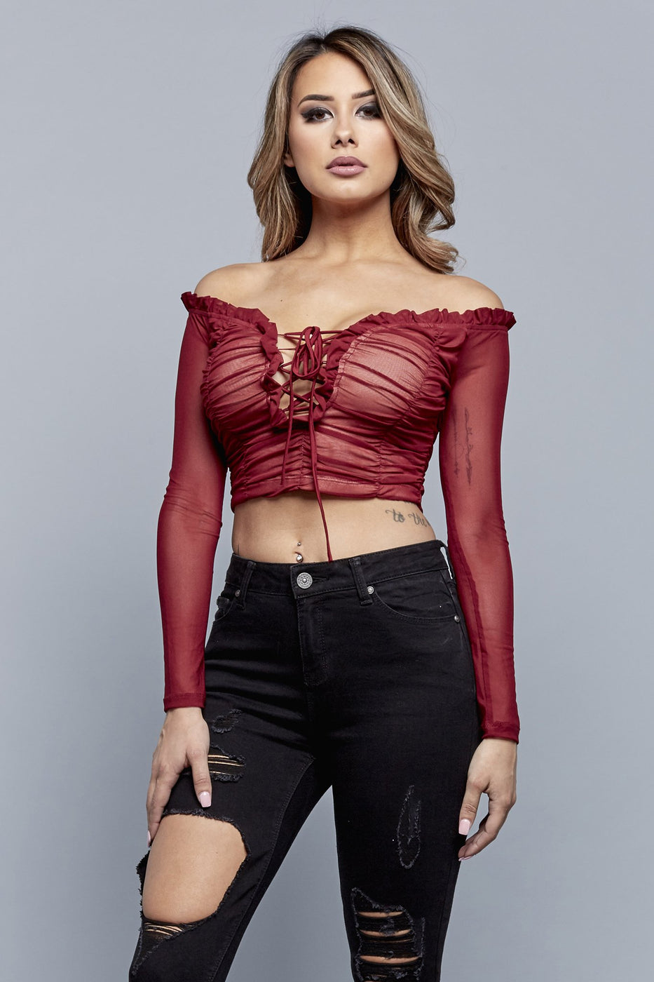 VICTORIA CROPPED TOP | BURGUNDY