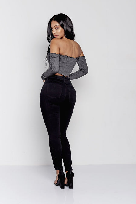 TAYLOR OFF THE SHOULDER  | CHARCOAL