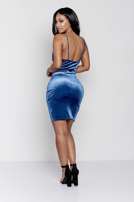 MUST HAVE VELVET DRAPED DRESS | BLUE