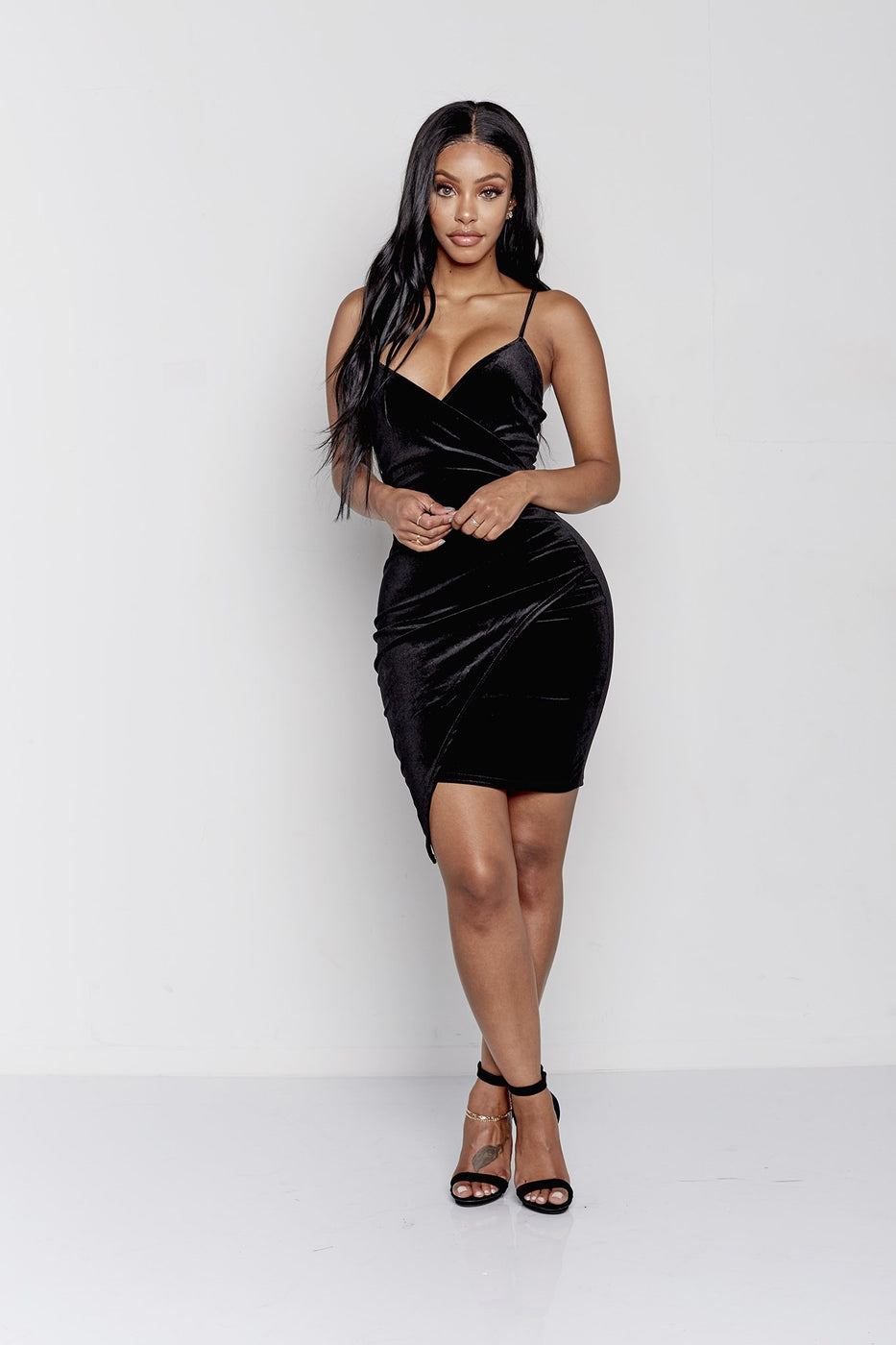 MUST HAVE VELVET DRAPED DRESS | BLACK