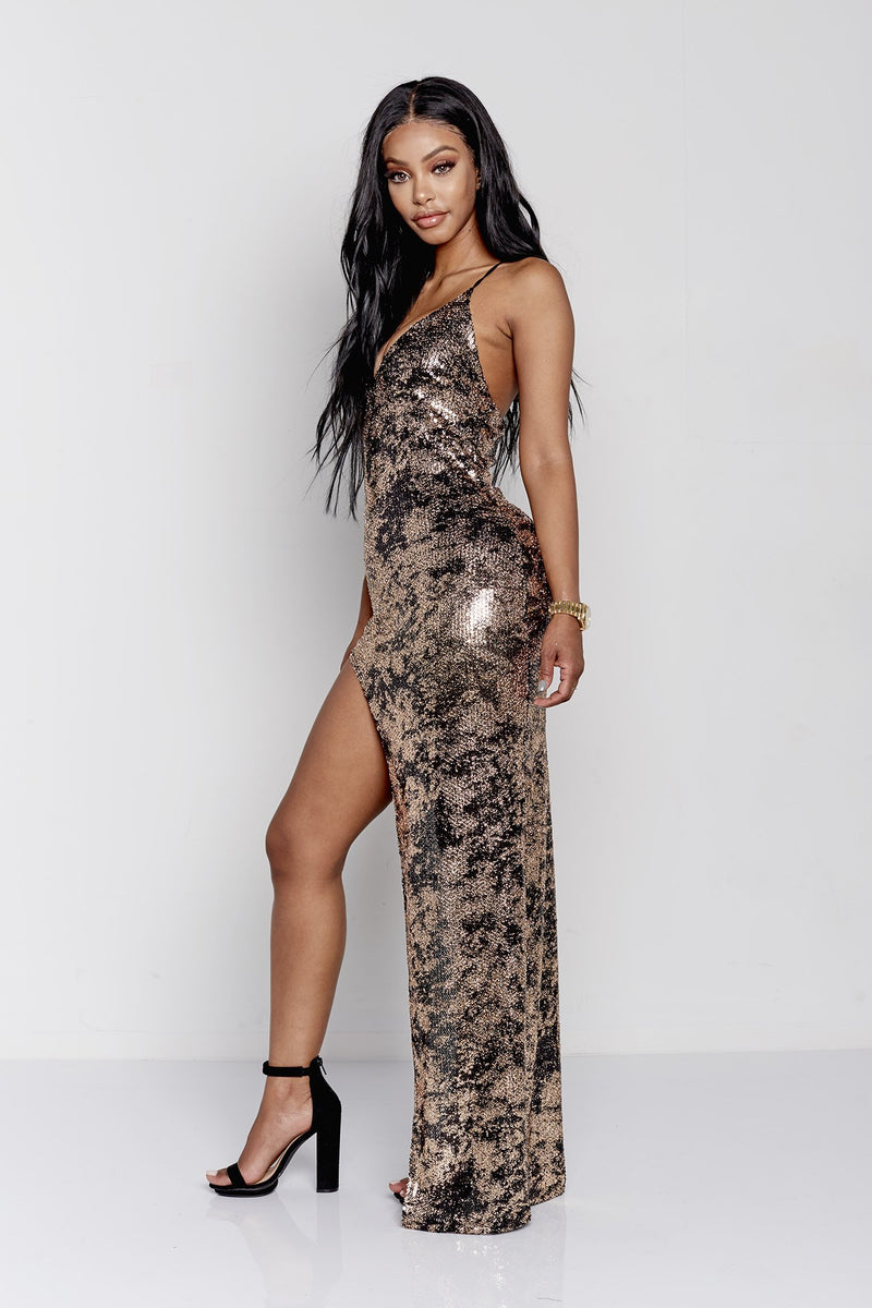 SZA DRESS | BLACK/GOLD