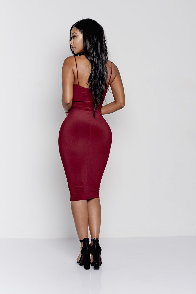 JOANNA DRESS | BURGUNDY