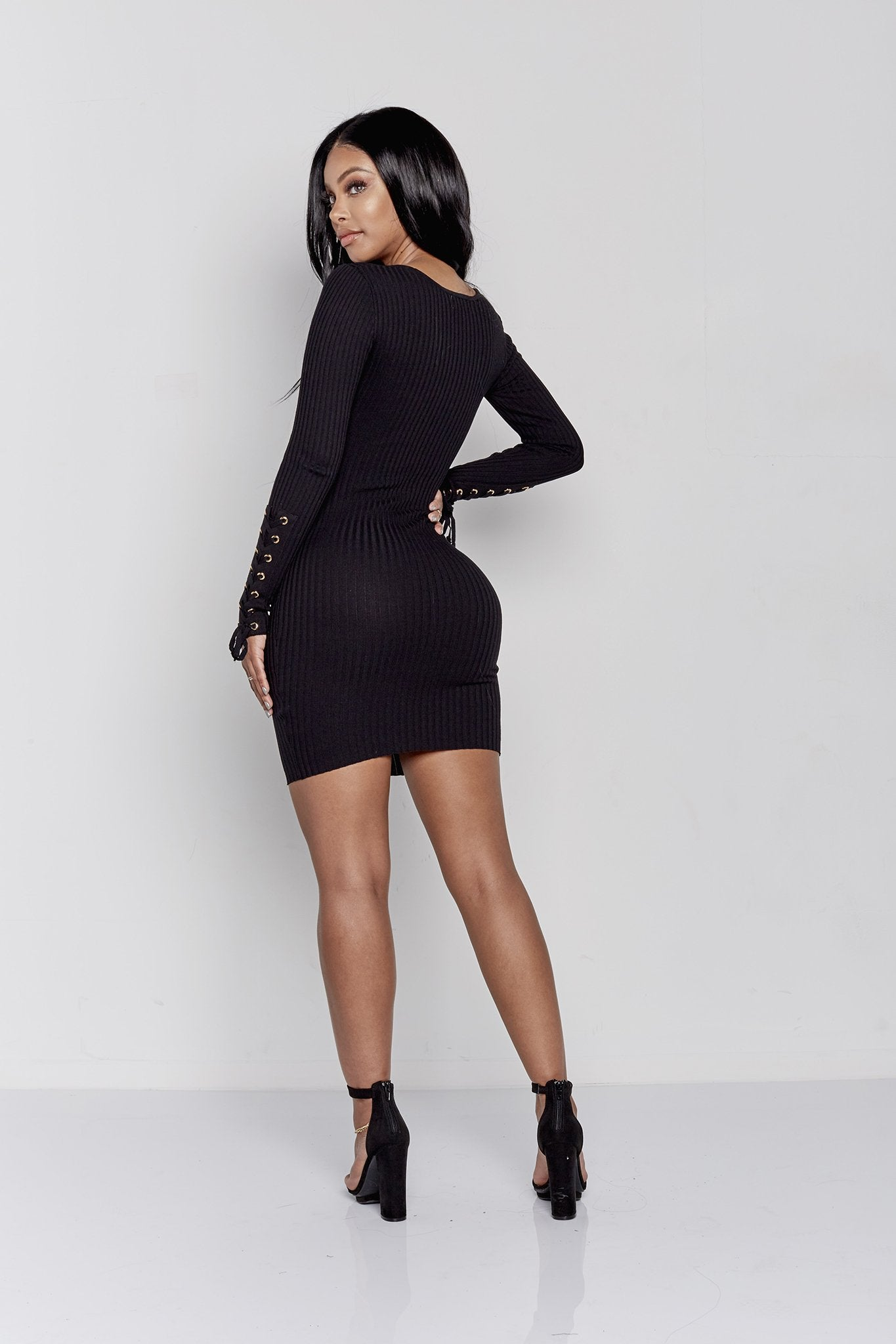 MONICA LACE UP DRESS | BLACK