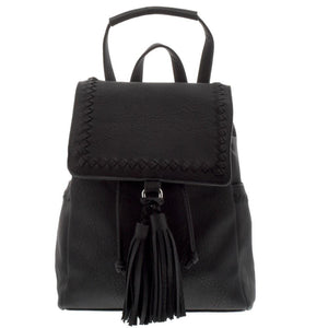 Black Leather Tassel Backpack