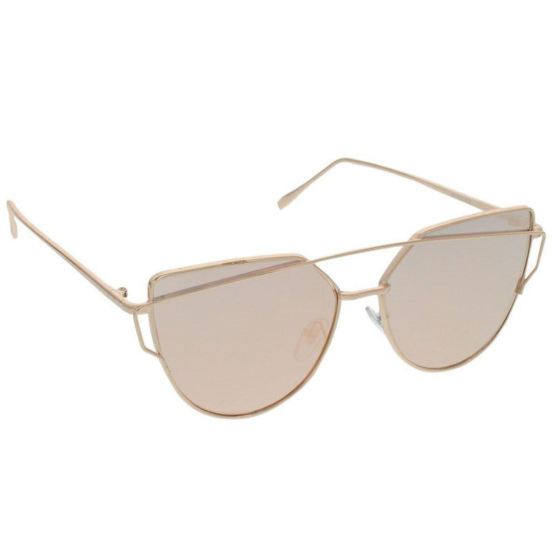 Geo Frame Sunglasses, Rose Gold