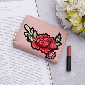 Rose Embroidered Small Wallet