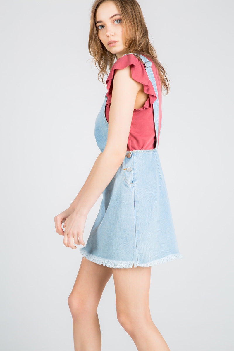 0a349368b7 Hit The Road Jack Skirt Overalls Light Wash