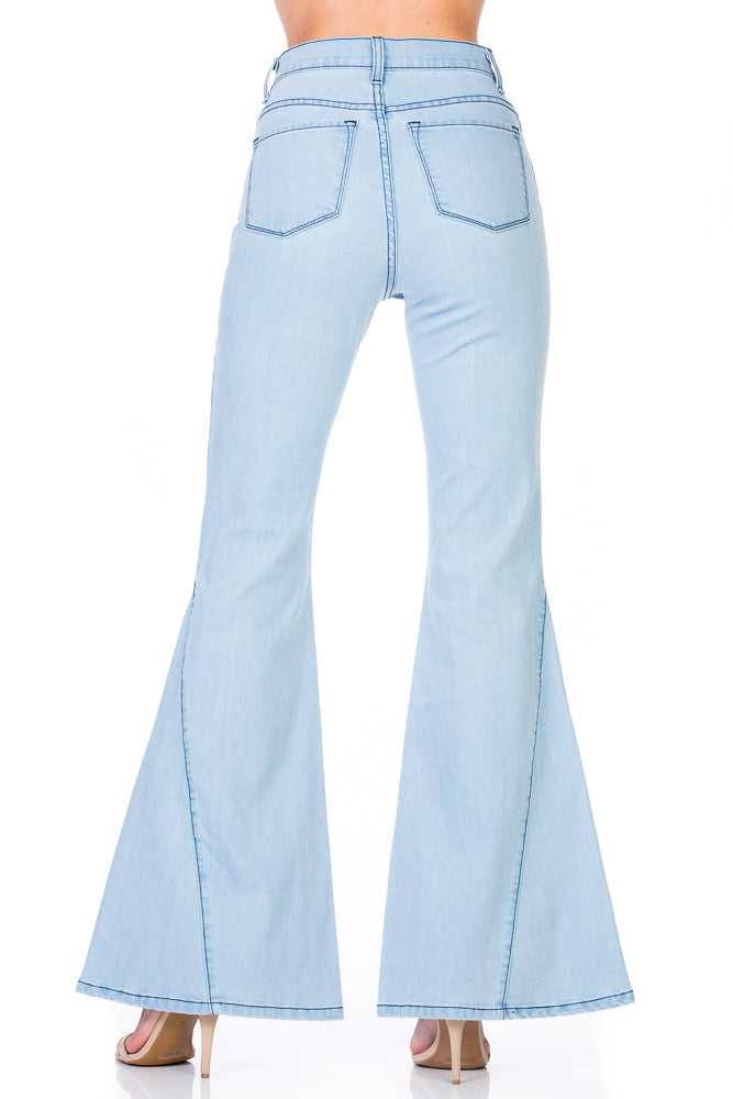 47d3bbbf Going Wild High Waisted Kick Flare Denim Jeans in Light Wash - Navy Stitch