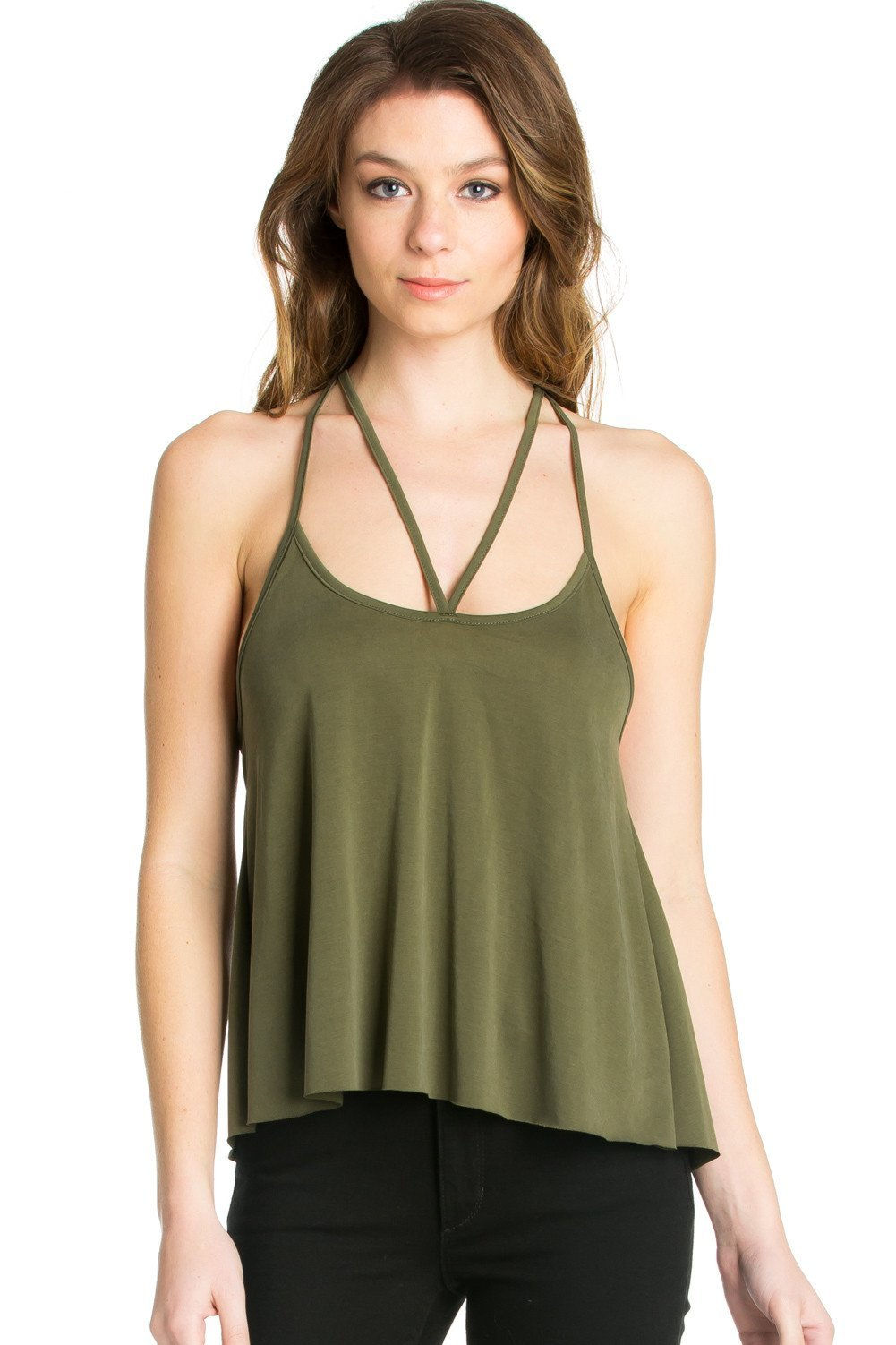 b9579ea154960 Criss Cross Front T-Back Tank Top in Olive
