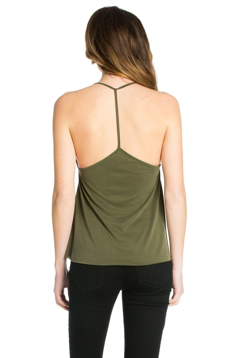 6a483ebf9a664b Criss Cross Front T-Back Tank Top in Olive – O2 Denim