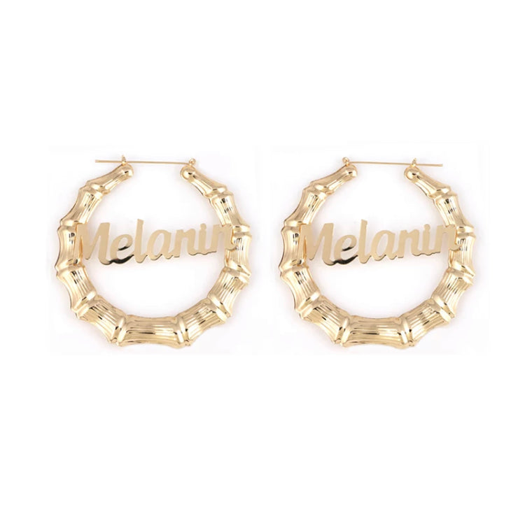 Melanin Nameplate Old School Bamboo Earrings