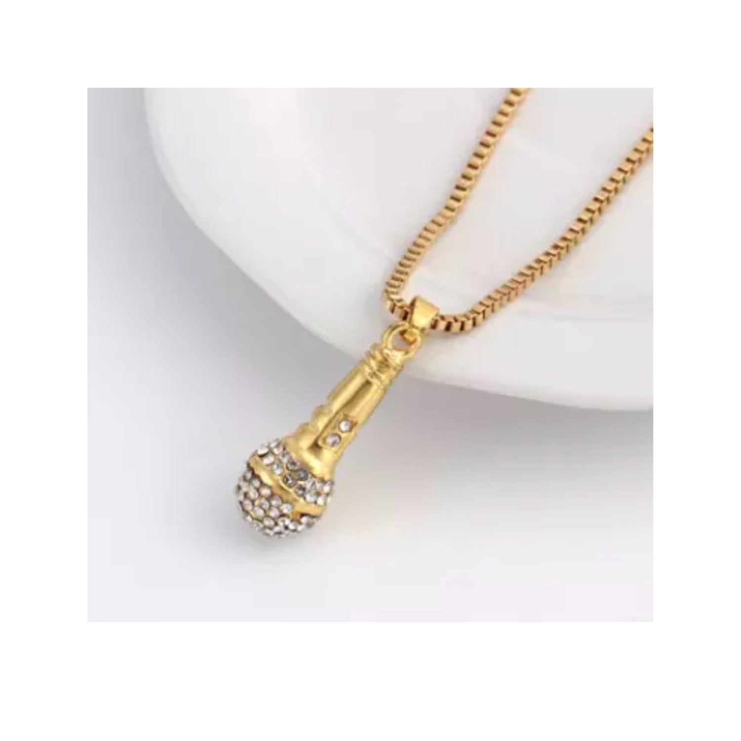 Gold Plated Microphone Pendant Chain