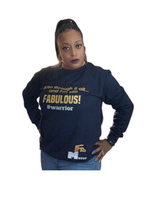 Navy Blue Fab Maven Statement and Logo Sweatshirt