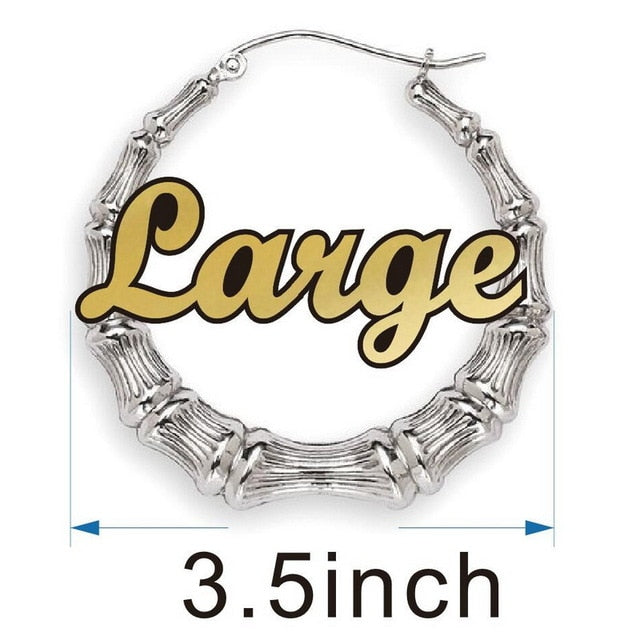 Customizable Nameplate Earrings Bamboo Style Hoop Earrings