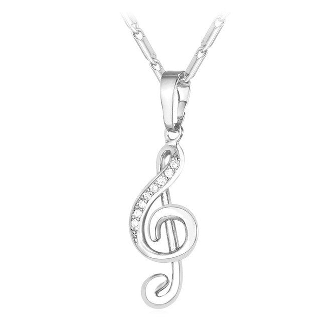 Musical note pendant charm necklace kivick musical note pendant charm necklace aloadofball Choice Image