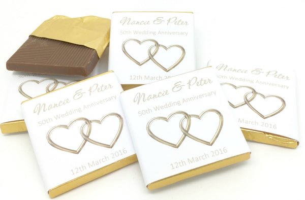 Golden Wedding Anniversary Personalised Chocolate Wedding Favours