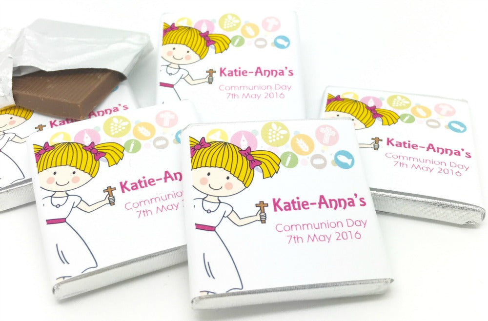 Cute Girl Holy Communion Personalised Chocolate Favours