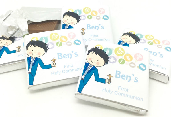 Cute Boy Holy Communion Personalised Chocolate Favours